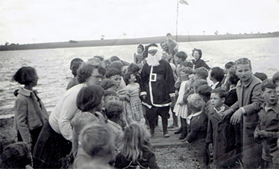 Santa arriving at Paynesville in late 1950s or early 1960s
